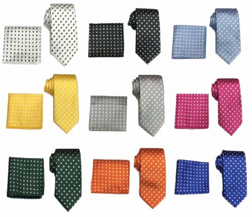 Men's Woven Polka Dot Tie & Hanky Handkerchief Pocket Square Set
